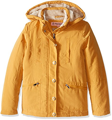 Urban Republic Big Girls' Microfibre Hooded Jacket, Dijon Yellow, 10/12 - Dijon Finish