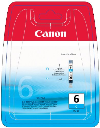 Canon BCI-6C - Ink tank - 1 x cyan - blister with security - for BJ-S820, i990, 99XX, PIXMA IP3000, IP4000, iP5000, iP6000, iP8500, MP750, MP760, MP780