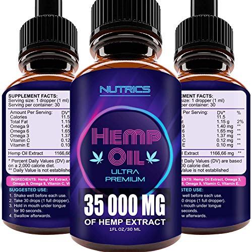 51aOCkrxw4L - Hemp Oil 35 000 MG, 100% Hemp Extract, Natural Dietary Supplement, Supports Anti-Anxiety and Stress Health, Rich in Omega 3 and 6 Fatty Acids for Skin & Hair Health, Vegan Friendly