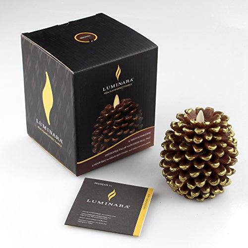 Luminara LED Flameless Candle, Flameless Real Pine Cone LED Candles for Home/Party/Halloween/Christmas/Wedding Decor with Timer Control, Battery Operated 3'' x 4.2''(Brown) by iDOO (Image #7)
