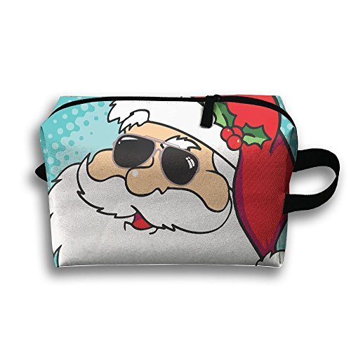Santa Claus With Sunglasses Printed Travel Toiletry Bag Multifunction Portable Bag Cosmetic Bag For Home Office Camping Sport Gym - To Where Sunglasses Cheap Get