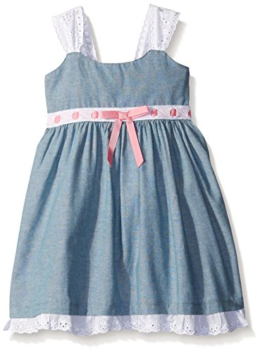 Blueberi Boulevard Baby Strappy Bow Waist Sundress, Chambray, 12 Months