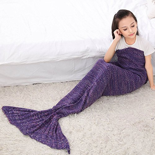Knitted Mermaid Tail Blanket Soft Handmade Crochet Mermaid Christmas gift, for Kids 55