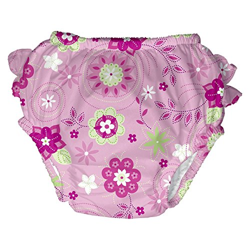 i play. Baby Girls' Ultimate Ruffle Swim Diaper, Pink Floral, 24 Months