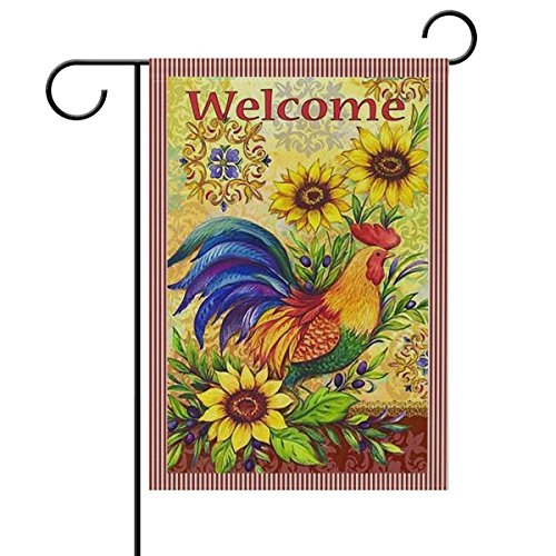 LIDU Welcome Rooster Sunflower Rose Double Sided Garden Yard Flag, Farm Chicken Summer Spring Flowers Decorative Garden Flag Banner for Outdoor Home Decor Party 28x40 Inches ()