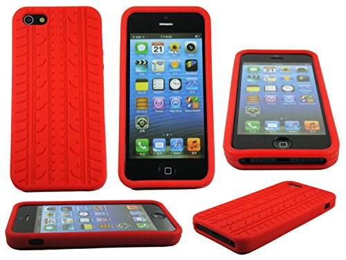 (Red Tire Treads Silicone Rubber Gel Soft Skin Case Cover for iPhone 5 USA Ship)