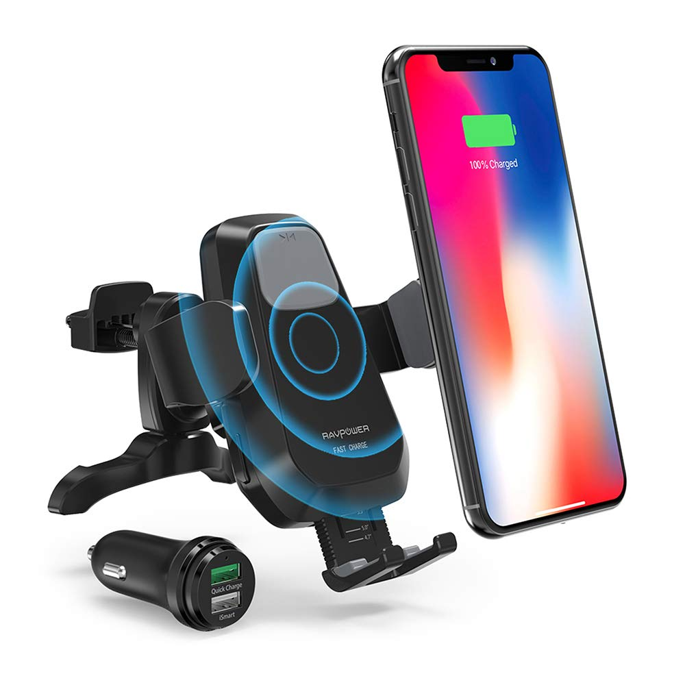 RAVPower Wireless Qi Fast Charger 7.5W/ 10 W Car Mount Kit, Automatic Phone Holder Air Vent, Compatible with iPhone XR XS Max X 8 Plus Galaxy S9 S8 Note 9 8 5 and & Qi-Enabled Device