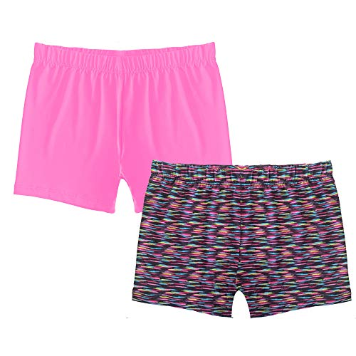 Popular Girl's Premium Playground Shorts - 2 Pack - Space Dye and Hot Pink - S (6/6X) -