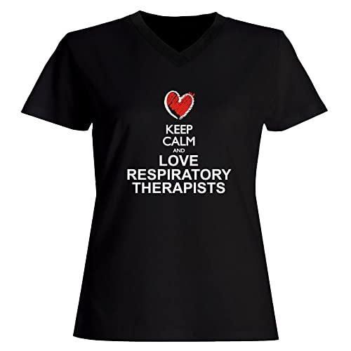 Idakoos Keep calm and love Respiratory Therapists Maglia a V-collo Donna