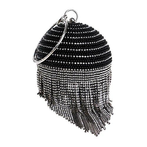 Borla Tarde La Embrague color Black Bolso Fiesta Del Mujeres De Black Vestido Felicipp Las Boda zE70nzq
