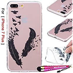 iPhone 7 Plus - Case, MerKuyom [Clear Transparent] [Slim-Fit] [Flexible Gel] Thin Soft TPU Case Skin Cover W/ Stylus For Apple iPhone 7 Plus , 7Plus (2016) – 5.5 inch (Black Feather Birds)