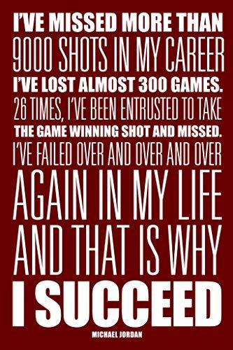 Michael Jordan I Succeed Red White Art Print Poster