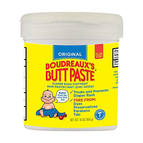 Paste Diaper Rash Ointment Jar (Boudreaux's Butt Paste Diaper Rash Ointment - Original - Contains 16% Zinc Oxide - Pediatrician Recommended - Paraben and Preservative-Free - 16 Ounce ( Packaging May Vary ))