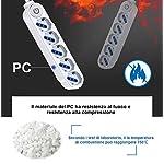 EXTRASTAR-Multipresa-ciabatta-con-Interruttore-a-Pedale5-Posti-1016A-Bipasso-Schuko-250V-Max3680W-15MT