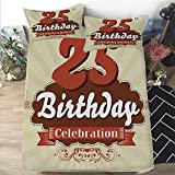 Eggshell Foam Mattress Topper Mattress Cover Full size 3D Printed Decorative Quilted 1 Piece Coverlet Set with 2 Pillows,25th Birthday Decorations,Aged Design Typography 25th Retro Style Fashionable,Eggshell Brown Burdy,12