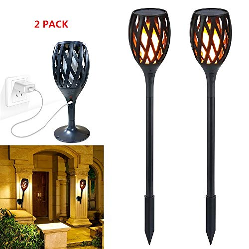 Solar Flame Light Upgraded, Outdoor Waterproof Flickering Flames Torches Landscape Decoration Lighting Dusk to Dawn Auto On/Off Security Torch Light for Patio Driveway, Indoor USB Recharge Wall Lamp