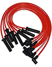 A-Team Performance Silicone Spark Plug Wires Set Black 90 Degree Boot for HEI Distributor Compatible with Mopar Chrysler Dodge 318 360 Red 8.0mm