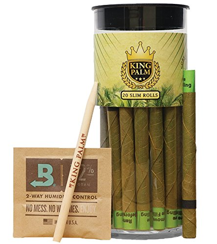 Palm Pre Accessory - King Palm Slim Size Natural Slow Burning Pre-Rolled Palm Leafs with Filter Tip (20 Pack)