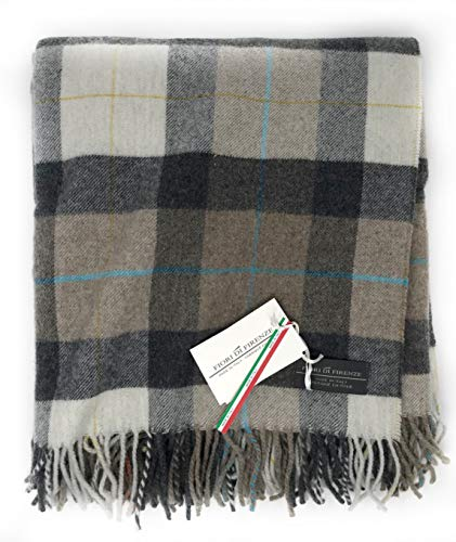 Fiori Di Firenze Classic Wool Throw Blanket Tartan Railroad Plaid Pattern Oversized Couch Throw Blanket Fringe Trim Afghan Type Grey Ivory Made in Italy (Taupe Grey)