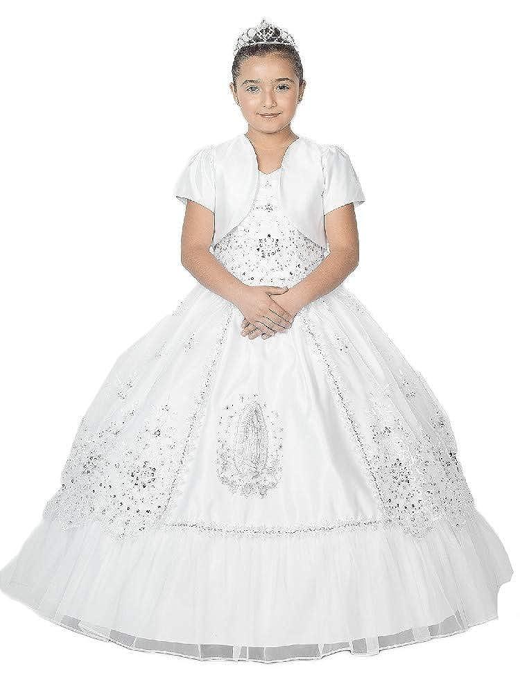 Alegria Kids Big Girls White Virgin Mary Embroidered Organza Bolero Communion Dress 7-18
