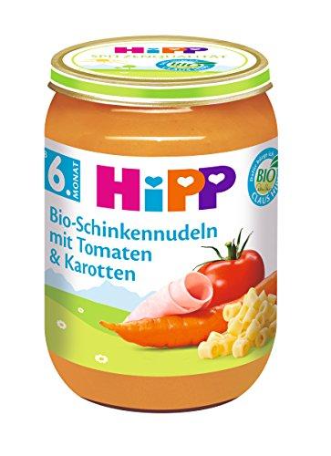 HiPP Bio-Schinkennudeln mit Tomaten und Karotten, 6er Pack (6 x 190 g) 6210 Menüs 190 g Komplettmahlzeit