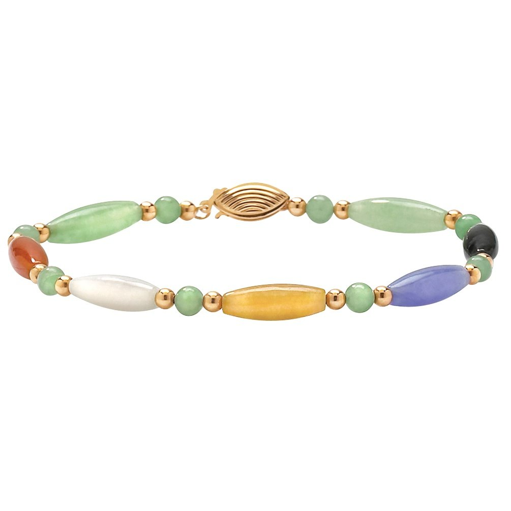 Multi-Color Genuine Jade 14k Yellow Gold Bead and Barrel Bracelet 7.5''