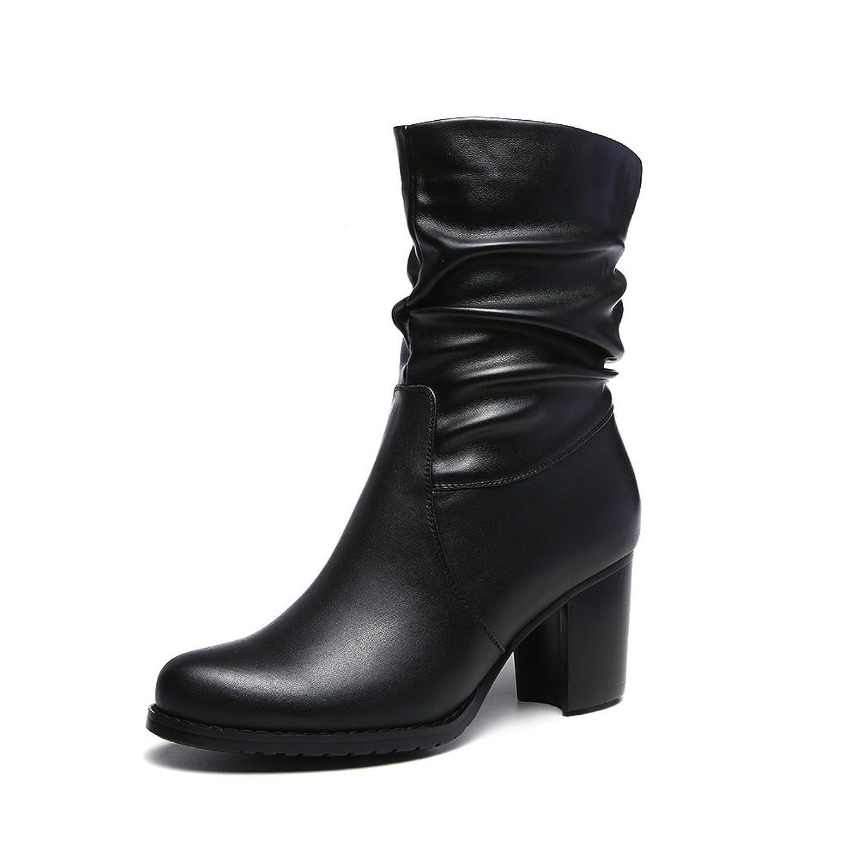 BalaMasa Girls Chunky Heels Platform Round Toe Cow Leather Boots