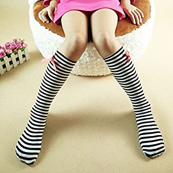 c1bbac7a5fd Buy New Nostalagia Knee High Socks with Bow Kids Boot Long Socks (Black  white strip) Online at Low Prices in India - Amazon.in