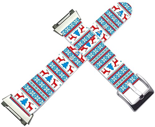 Fitbit Ionic Strap Small/Large Leather - Fitbit Ionic Band Silver Connectors Colorful Christmas Tree Reindeer Theme Pattern Gift