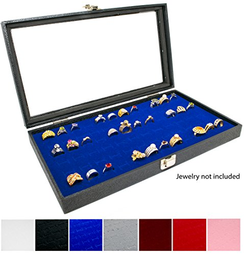 Display Case 72 Blue Ring - Novel Box Glass Top Black Jewelry Display Case + Blue 72 Slot Ring Display Insert + Custom NB Pouch