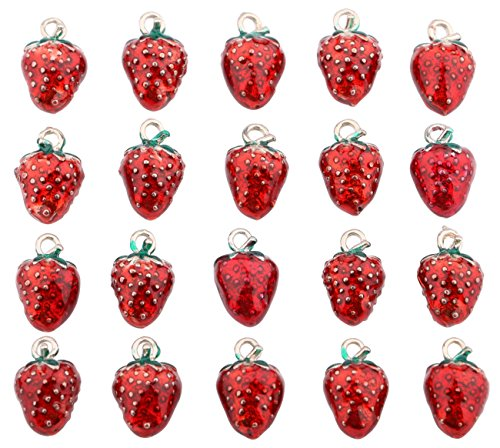 Strawberry Charm Necklace - Sdootjewelry 20 pcs Strawberry Shaped Charm Beads Pendants Beads with Shackle for Making Necklaces Bracelets Earrings 0.5cm x 0.25cm