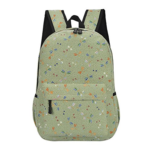 Slendima Fresh Colorful Leaf Pattern Lightweight Canvas Casual Bag,Women Waterproof Travel Backpack Student School Bag for Laptop Note Book - 5 Types by Slendima