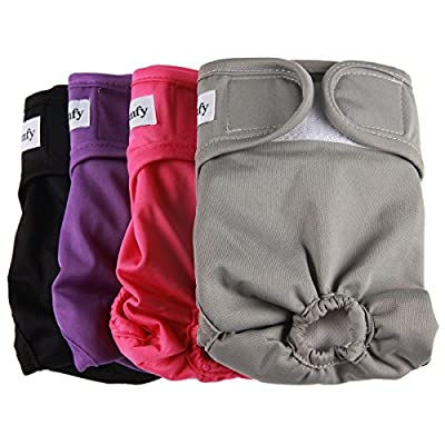 vecomfy Washable Dog Diapers Female for Small Dogs 4 Pack,Premium Reusable Leakproof Puppy Nappies