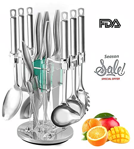 Kitchen Gadgets Utensil Knives Set - 13 Piece Stainless Steel Block - Spatula, Serving Spoon, Spaghetti Server, Soup, Dessert Ladel, Skimmer, Chef, Bread, Carving, Utility, Paring, Knife & Sharpener (Utensils Kitchen Knives)
