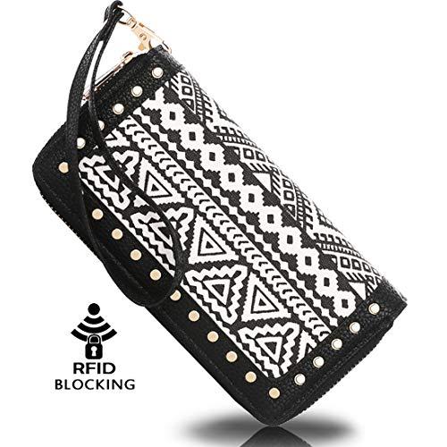 Double Checkbook Zip Clutch - K A Women's RFID Blocking Zip Around Wallet Clutch Large Capacity Travel Purse Chevron Zigzag Bag (Black-1)