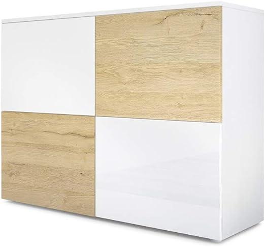 et Chêne Haute en Nature Buffet Vladon RovaCorps Blanc Commode Blanc Brillance MatPortes en EeDHWI29Y