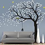 "CaseFan Large Falling Tree Wall Stickers Mural Paper for Livingroom Baby Room Vinyl Removable DIY Decals 70.9x86.6"",White+Black"