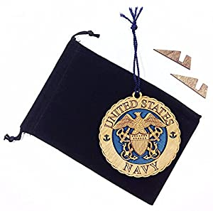 Hanging Wooden Laser Christmas Tree Holiday Ornament with Display Stand & Velvet Pouch - Military Armed Forces Navy