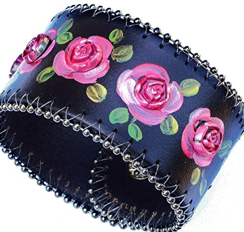Hand Painted Pink Roses Adjustable Wide Black Leather Cuff Bracelet Boho Bohemian Jewelry for Women - Hand Painted Black Leather