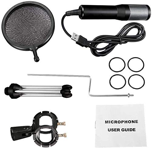 for PC,Laptop,Windows//Mac,with Tripod Stand Black PC Microphone Recording,Online Chatting NASUM USB Plug /& Play Professional Home Studio Condenser Microphone USB Microphone for Podcast
