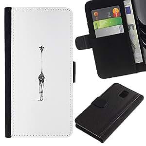 WINCASE Cuadro Funda Voltear Cuero Ranura Tarjetas TPU Carcasas Protectora Cover Case Para Samsung Galaxy Note 3 III - Dibujo blanco negro animal arte minimalista