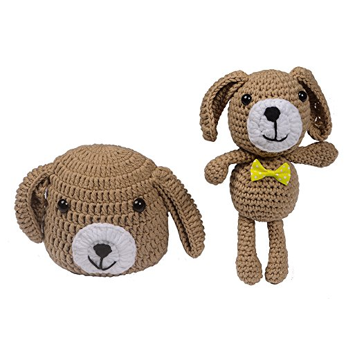 ISOCUTE Newborn Baby Knit Hat Beanie with Dog Doll for Infant Boy Girl Photography Props (Khaki) (Beanie Baby Dog Set)