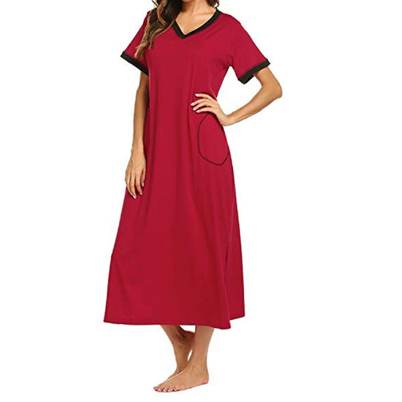 FAPIZI Nightgown Womens Sleepshirts Short Sleeve Nightshirt Maxi Long Sleepwear Pajamas with Pockets Wine Red