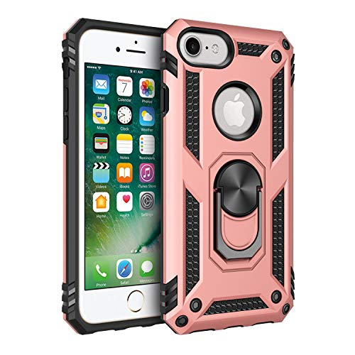 iPhone 6 6s iPhone 7 and iPhone 8 Case, Extreme Protection Military Armor Dual Layer Protective Cover with 360 Degree Unbreakable Swivel Ring Kickstand for iPhone 6 6s and iPhone 7 8 Rose Gold