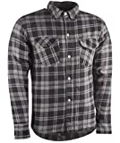 Highway 21 Marksman Men's Motorcycle Long Sleeve Flannel Shirt W/CE Armors/PE Back Armor Black/Grey Size Medium