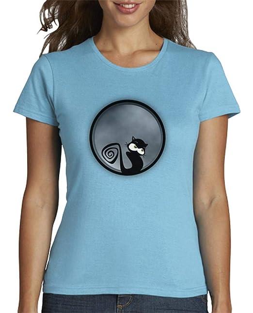latostadora - Camiseta Gato en la Luna de para Mujer: malapractik: Amazon.es: Ropa y accesorios