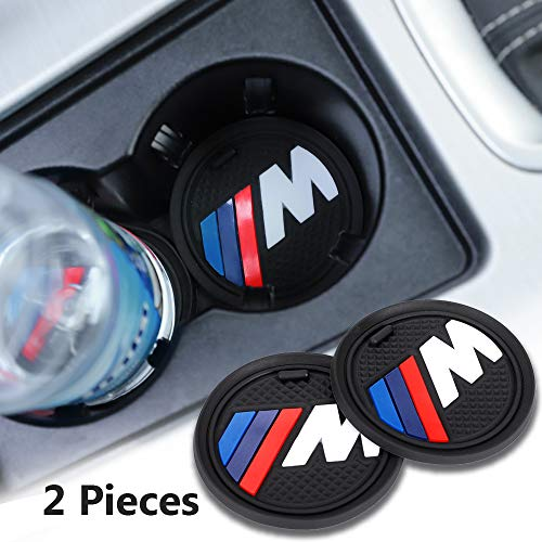 2 Pack 2.75 inch M Logo Car Interior Accessories Anti Slip Cup Mat for BMW All Models (for BMW M)