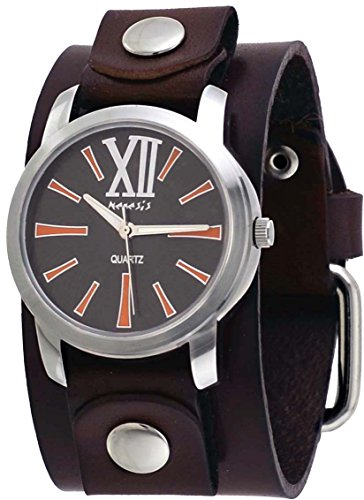 Nemesis #BGBB065N Women's Exclusive Collection Roman Brown Leather Cuff Band Watch