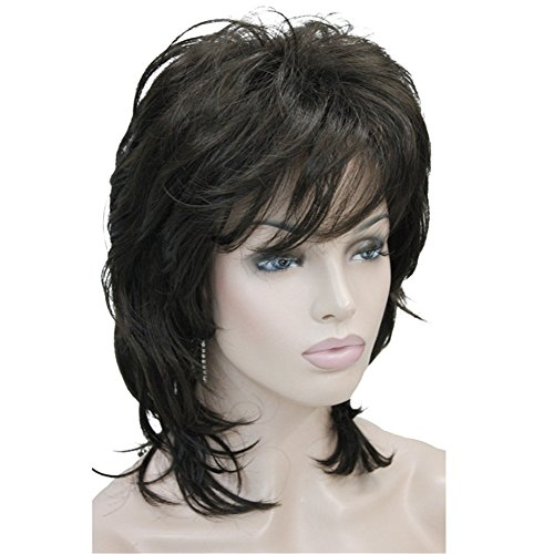 Aimole Soft Shaggy Layered Medium Length Classic Cap Synthetic Women Wigs Chestnut Brown #6