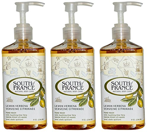 (South of France Lemon Verbena Hand Wash (Pack of 3) with Aloe Vera Leaf Extract, Coconut Oil, and Vitamin E, 8 oz.)
